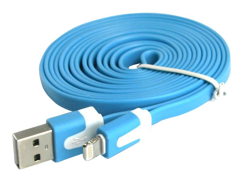 4Xem Lightning to USB 2.0 Type A M M Flat Cable, Blue, 3ft
