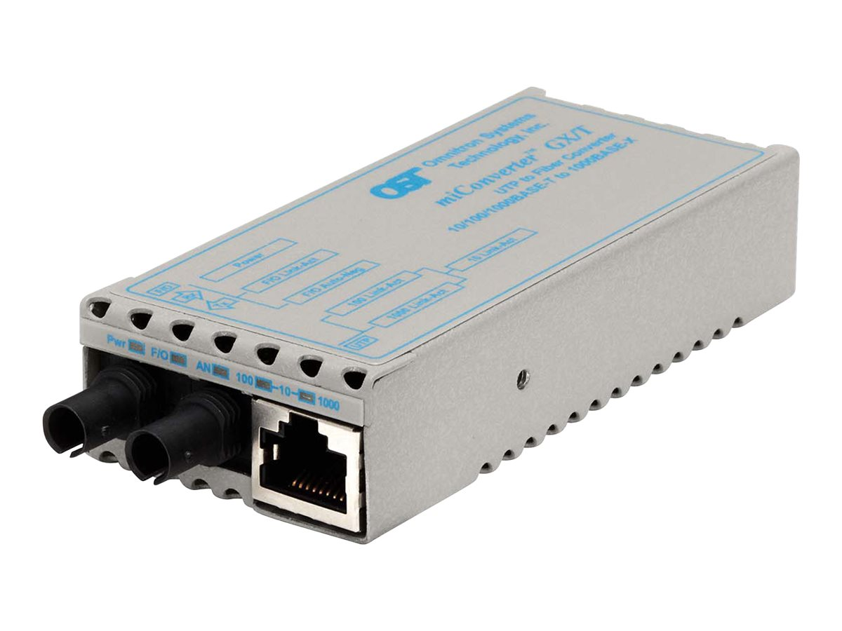 Omnitron MiConverter 10 100 1000BT RJ45 to 1000BLX ST SM 1310NM 12KM US AC, 1221-1-1, 11515958, Network Transceivers