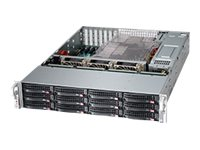 Supermicro Chassis, SuperChassis 826BE1C 2U RM E-ATX (2x) Intel AMD Family 12x 3.5 Bays 7xSlots 2x920W, Black