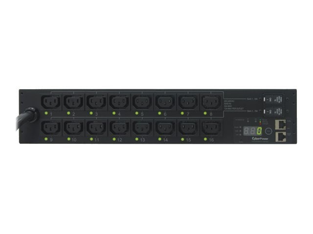 CyberPower Switched PDU 208V 30A 2U RM Digital Display SNMP L6-30P 10ft Cord (16) C13 Front, PDU30SWHVT16FNET