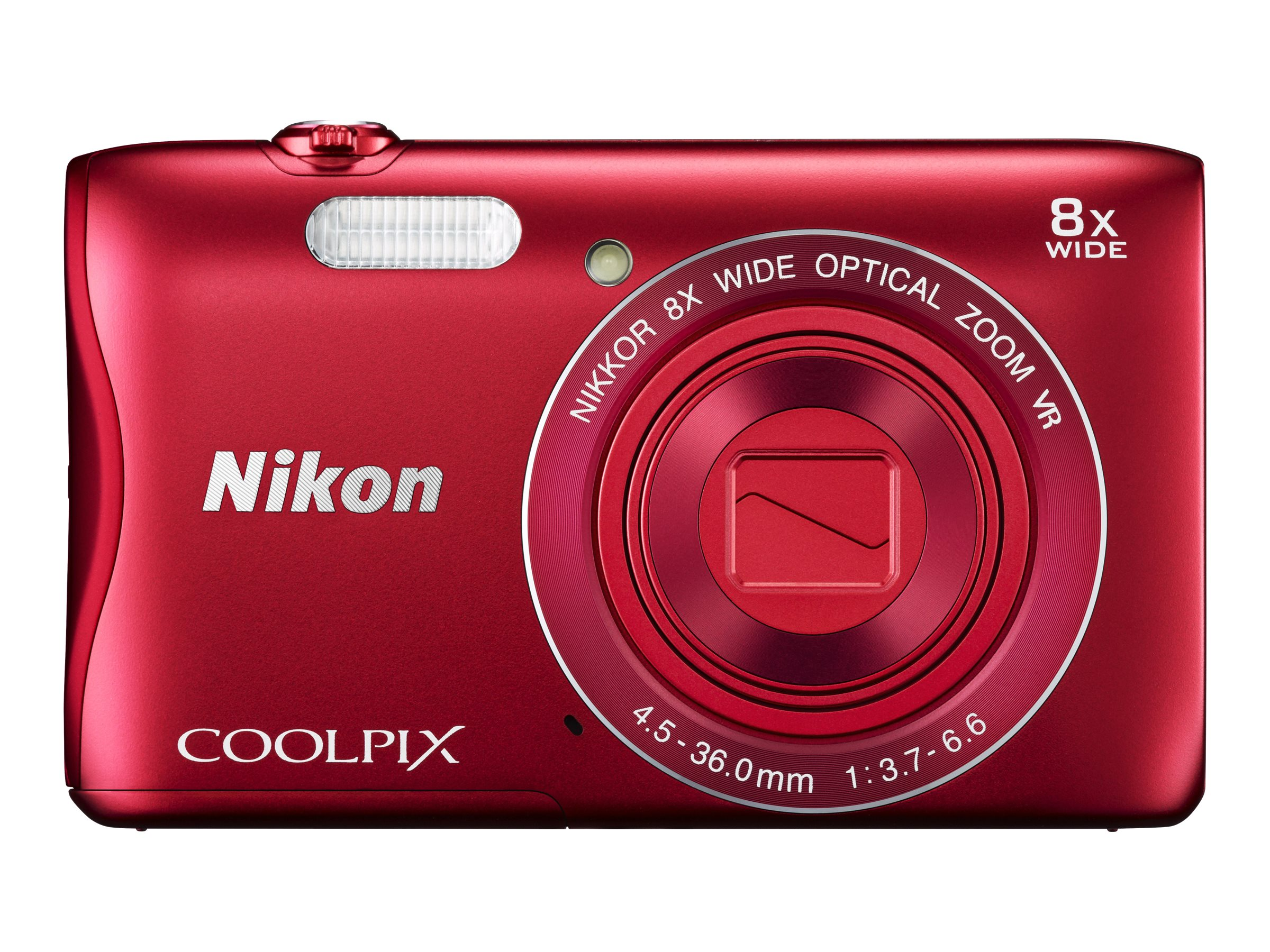 Nikon COOLPIX S3700 Digital Camera, Red, 26477