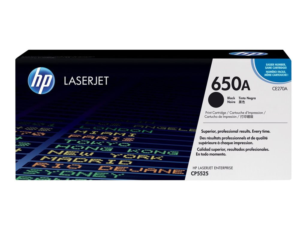 HP 650A (CE270A) Black Original LaserJet Toner Cartridge, CE270A, 11912128, Toner and Imaging Components