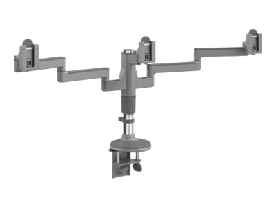 Humanscale MFlex Arm with Triple Monitor Support and Clamp Mount, Silver Gray, MF23SB0BC12