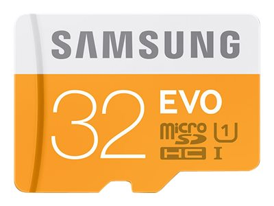 Samsung 32GB EVO MicroSDHC Flash Memory Card, Class 10 with SD Adapter, MB-MP32DA/AM