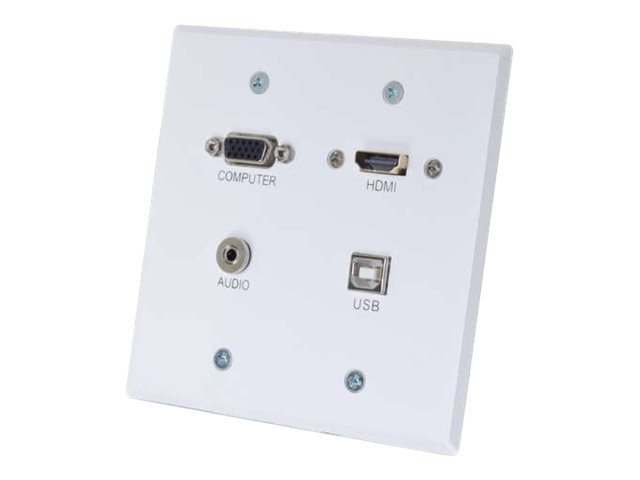 C2G RapidRun HDMI, VGA + Stereo Audio Double Gang Wall Plate Transmitter with USB, White, 60154, 17785300, Premise Wiring Equipment