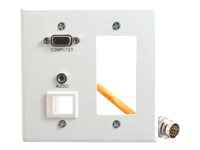 C2G RapidRun Double Gang Integrated VGA HD15 + 3.5mm + Keystone + Decora Wall Plate, White