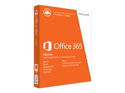 Microsoft Office 365 Home 32 64bit 1 Year Subscription Medialess, 6GQ-00241, 18533737, Software - Office Suites