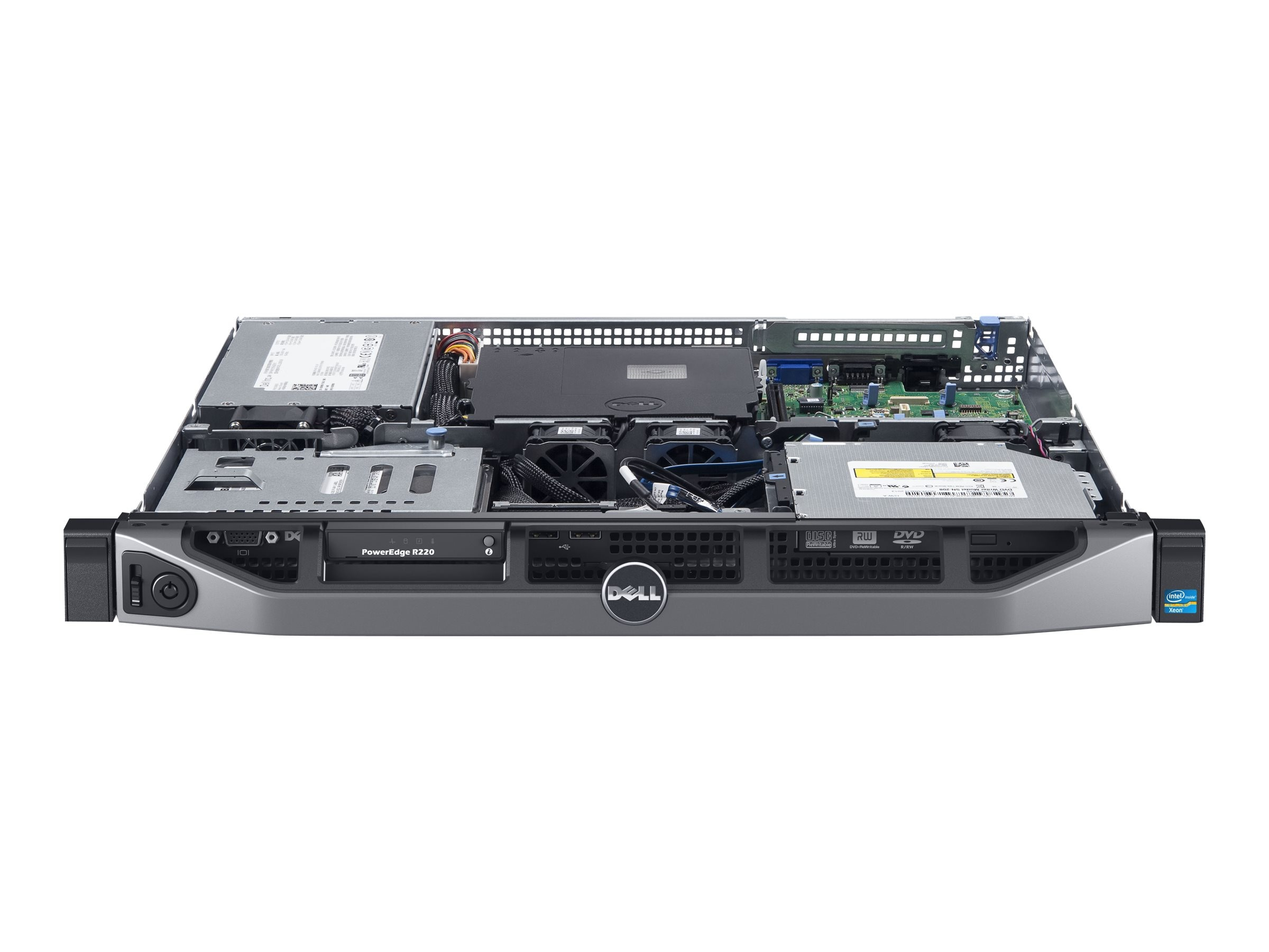 Dell PowerEdge R220 1U RM Xeon QC E3-1220 v3 3.1GHz 8GB 1x1TB SATA 2x3.5 DC Bays DVD 2xGbE 250W, 463-6116