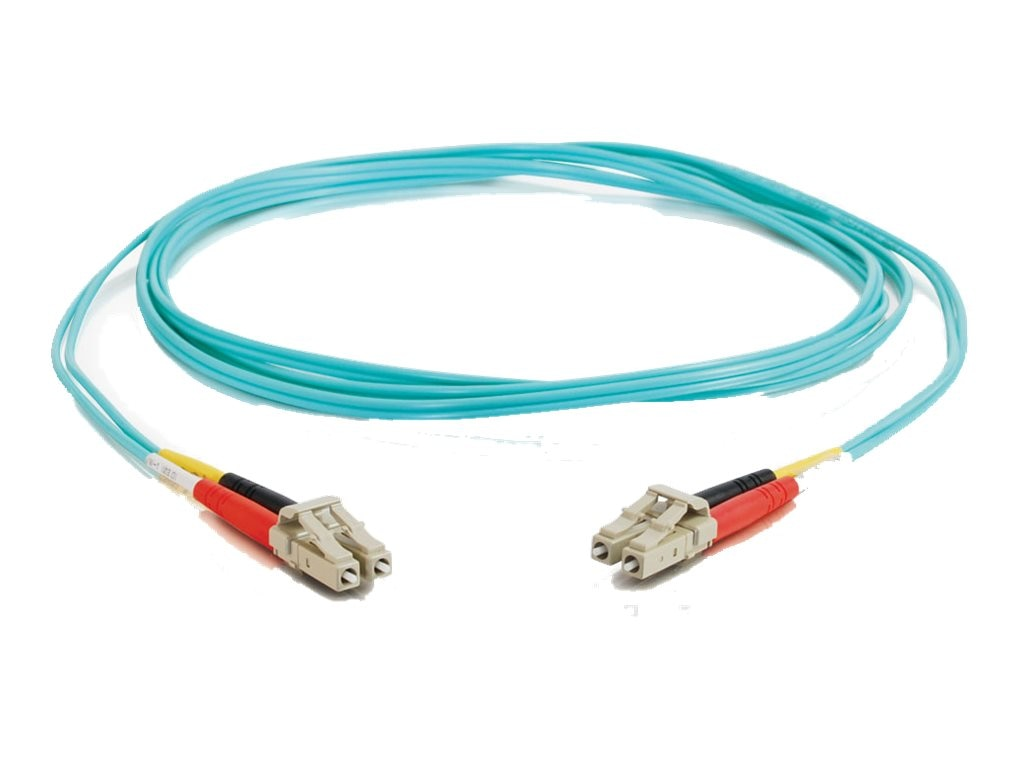 C2G LC-LC 10Gb 50 125 OM3 Duplex Multimode PVC Fiber Optic Cable, Aqua, 2m