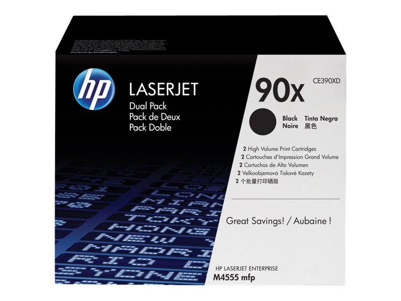 HP 90X (CE390XD) 2-pack High Yield Black Original LaserJet Toner Cartridges, CE390XD, 13894576, Toner and Imaging Components