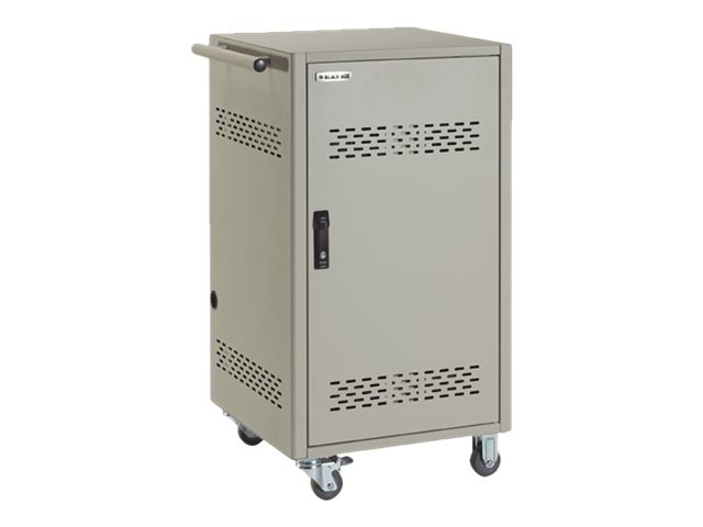 Black Box 30-Device Cart with Steel Top, Fixed Shelves, Hinged Door, Hasp Lock