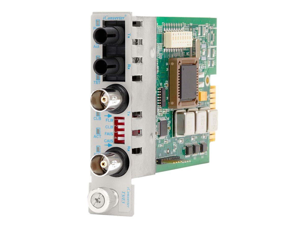 Omnitron IConverter DS3 T3 E3 Media Converter - Coax. to ST SM 1310NM 30KM, 8741-1, 5338140, Network Transceivers