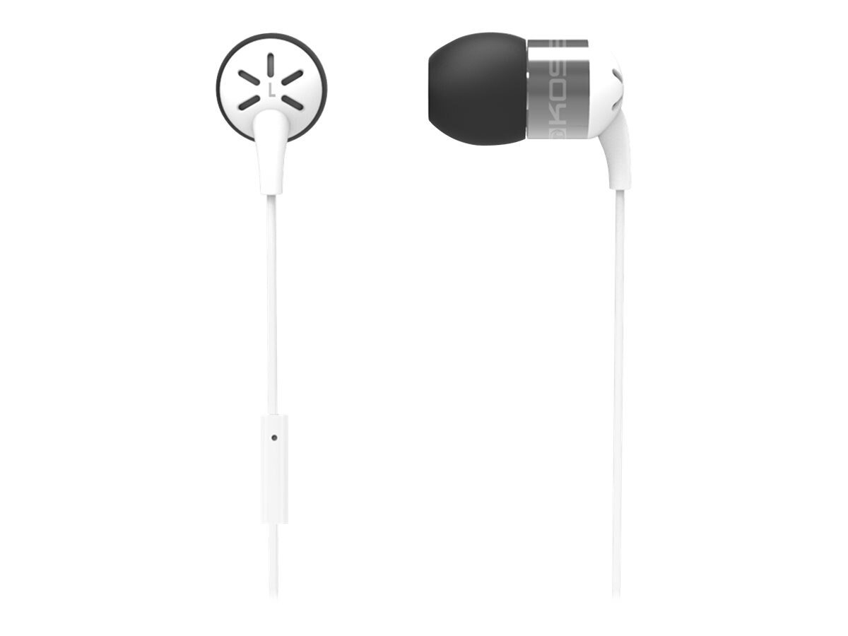 Koss Form Fitting In-Ear Buds w  Mic & Aluminum Housing - White, KEB25I WHITE, 21897048, Headsets (w/ microphone)