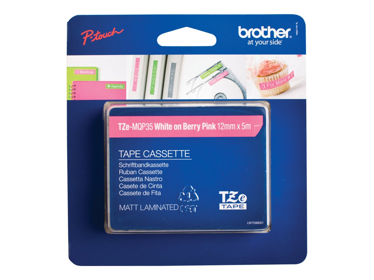 Brother 0.47 x 16.4' TZeMQP35 White on Berry Pink Tape for P-Touch, TZEMQP35