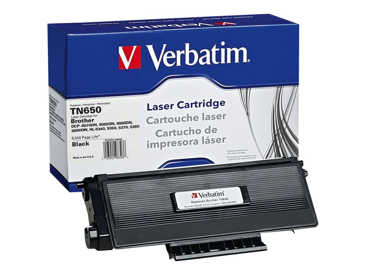 Refurb. Verbatim TN650 Toner Cartridge for Br0ther DCP8070DN, 98328, 16003249, Toner and Imaging Components