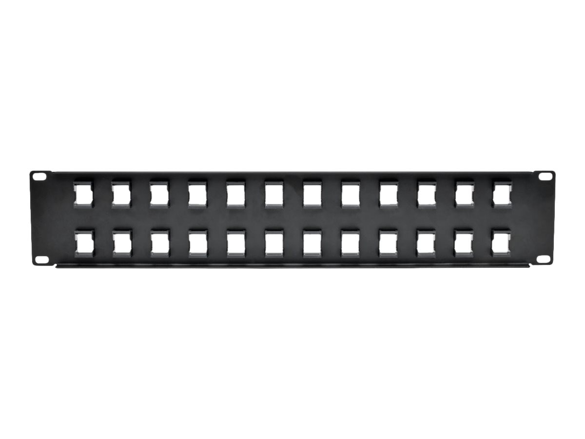 Tripp Lite 24-Port 1U RM Shielded Blank Keystone Multimedia Patch Panel w RJ45, USB, HDMI, Cat5e 6, N062-024-KJ