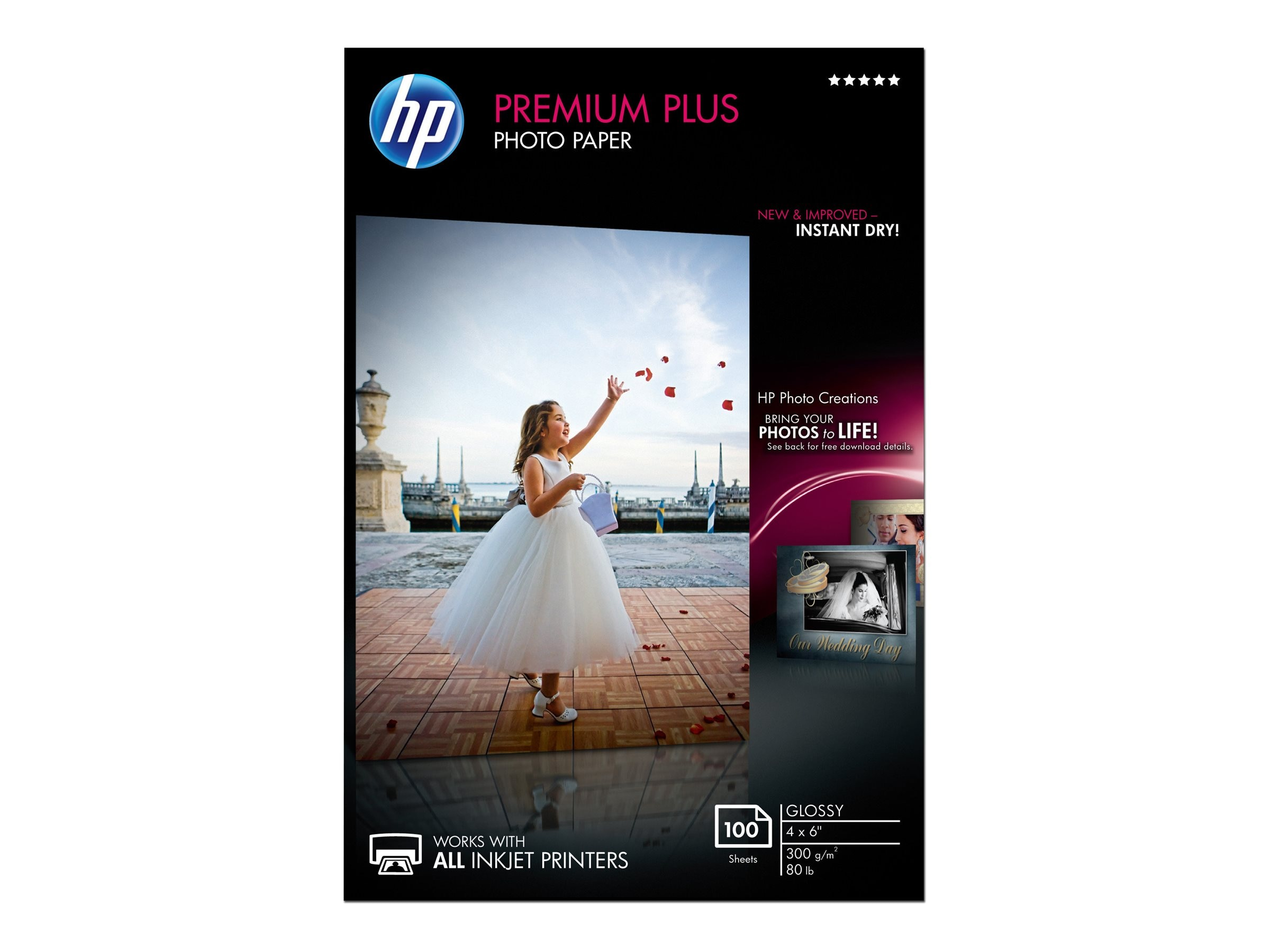 HP 4 x 6 Premium Plus Glossy Photo Paper (100 Sheets)