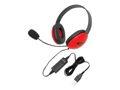 Califone Listening First Stereo Headset - Red, 2800RD-USB, 31472473, Headphones