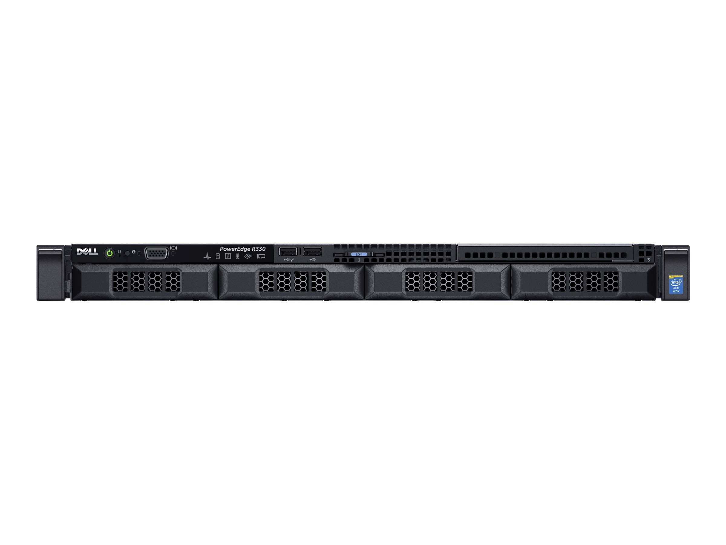 Dell PowerEdge R330 1U RM Xeon QC E3-1240 v5 3.5GHz 8GB 1x1TB 4x3.5 HP Bays H330 DVD 2xGbE 350W, 463-7650