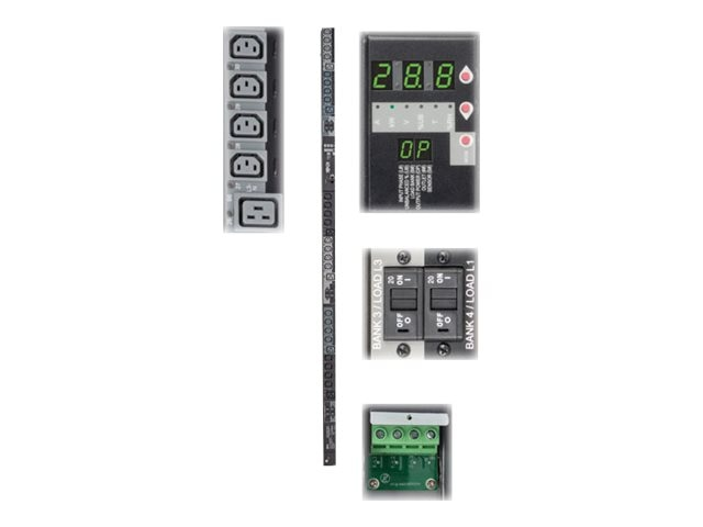 Tripp Lite Switched PDU 28.8kW 415V 3-Ph 240V Output 0U Hardwired Input (24) C13 (6) C19 Outlets, TAA