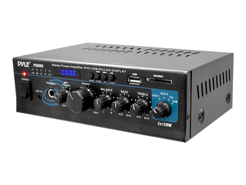 Pyle Stereo Power Amplifier 2x120 Watt with Blue LED Display, USB SD MMC Card, Aux, CD & Mic Inputs, PTAU55, 16549487, Stereo Components