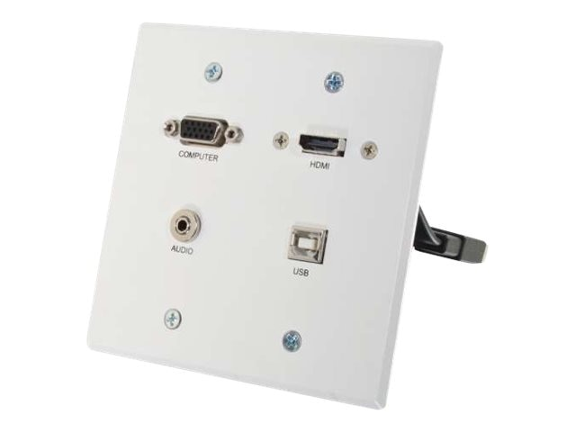 C2G RapidRun VGA + 3.5mm Double Gang Wall Plate + HDMI and USB Pass Through, White, 60146, 17785297, Premise Wiring Equipment