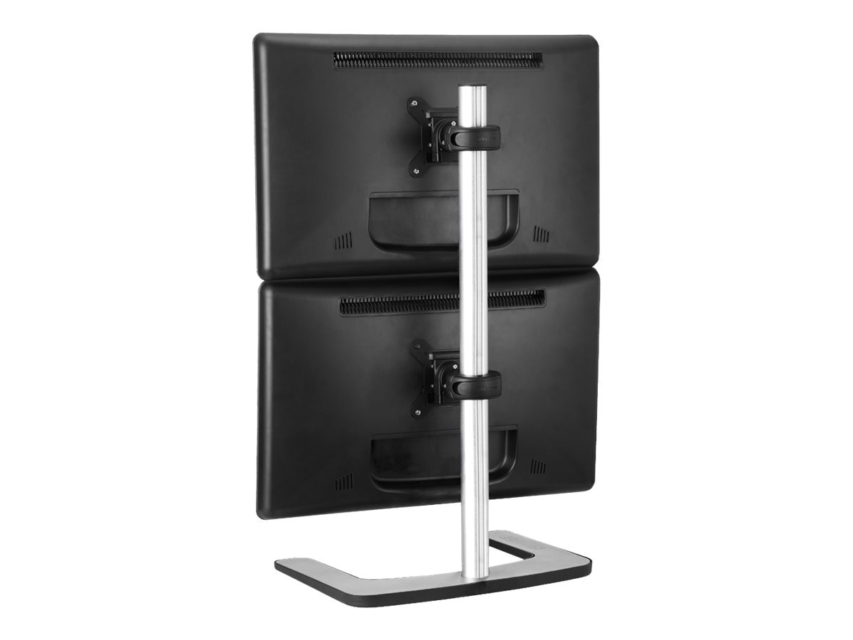 Atdec Visidec Freestanding Vertical Dual Monitor Display Mount, 12-24in Flat Panel, Silver, V-FS-DV