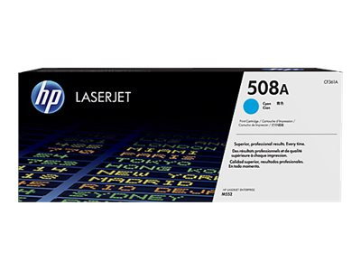 HP 508A Cyan LaserJet Toner Cartridge w  JetIntelligence for M552 M553 series, CF361A, 19055360, Toner and Imaging Components