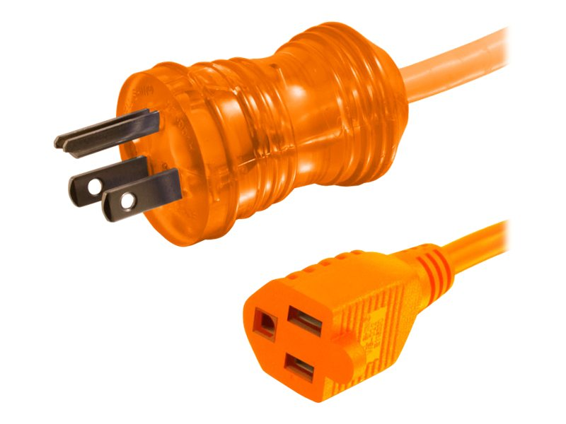 C2G Hospital Grade Power Extension Cable NEMA 5-15P to NEMA 5-15R, 300V 13A, 26AWG SJTW, 25ft, Orange, 48074, 17771320, Power Cords