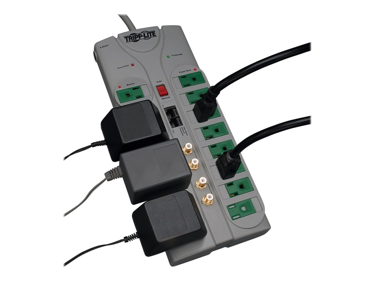 Tripp Lite ECO Green Home Theater Surge Suppressor (12) Outlets Coax RJ-45, TLP1210SATG