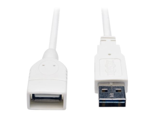 Tripp Lite USB 2.0 Reversible Type A to A M F Cable, White, 6ft