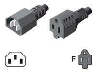 Server Technology IEC C14-to-NEMA 5-15R, 1ft, cUL-US Approvals, 10A at 125V, CAB-1305, 16483043, Power Cords