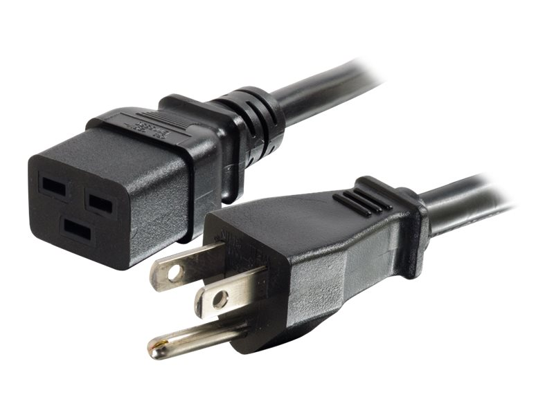 C2G Power Cord NEMA 5-15P to IEC320 C19, 14AWG, 125V, 3ft, 10350, 18029987, Power Cords
