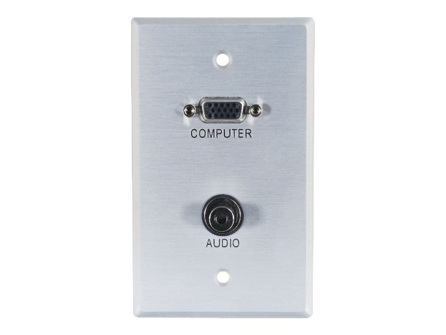 C2G Single Gang HD-15, 3.5mm Wall Plate, Aluminum, 40505, 9902465, Premise Wiring Equipment
