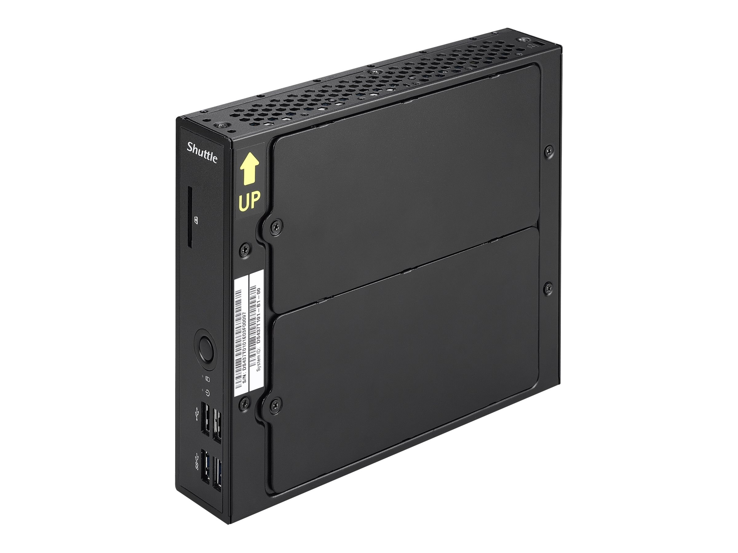 Shuttle Barebones, Desktop USFF Slim Celeron DC 1037U 1.8GHz Max.8GB DDR3 1x2.5 Bay 65W Fanless NoOS, Black, DS437T
