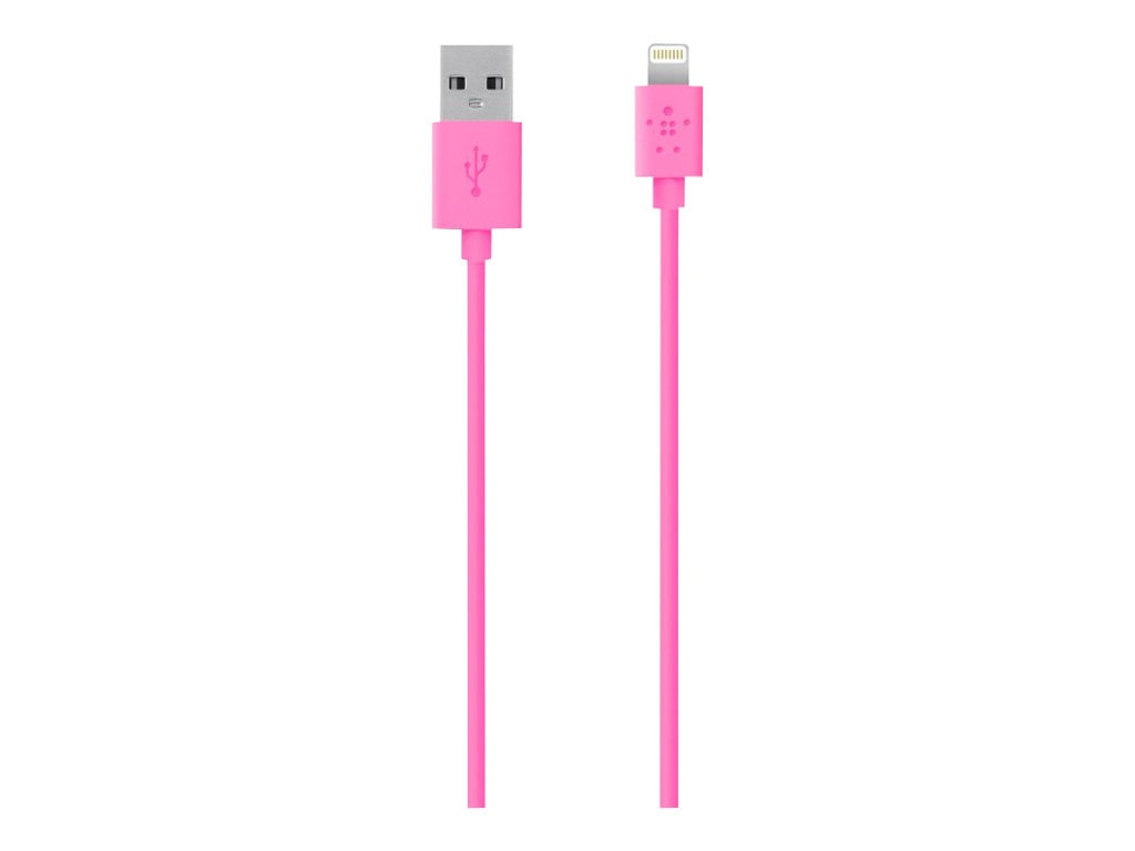 Belkin MIX IT Lightning Sync Charge cable, 1.2m, 4ft, Pink, F8J023BT04-PNK, 15622101, Cables