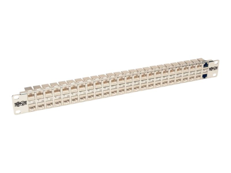 Tripp Lite 48-Port 1U Rackmount STP Shielded Cat6a Feedthrough Patch Panel, N254-048-SH-6A, 30657661, Patch Panels