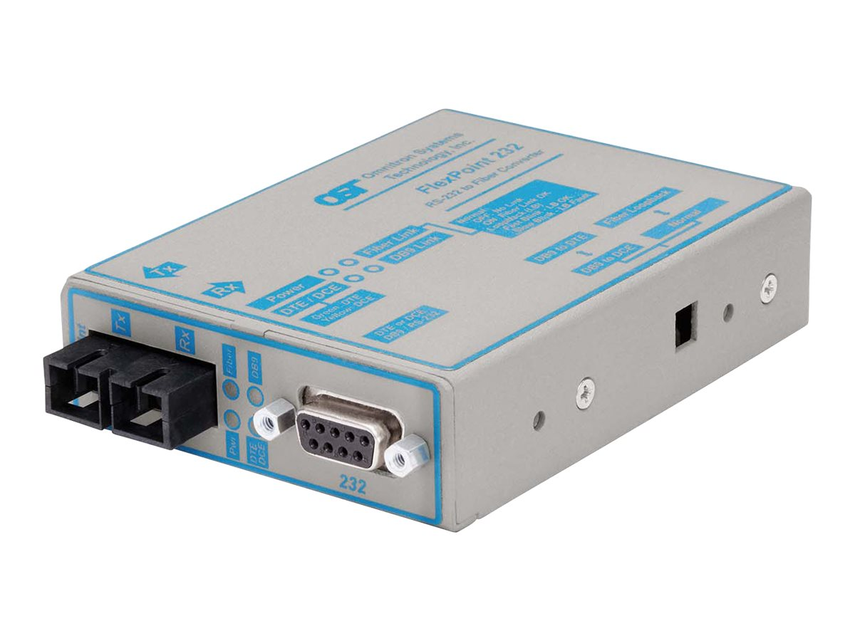 Omnitron FlexPoint 232 Baud Rate Autosensing RS-232 to Fiber Media Converter, 4480-1, 14478582, Network Transceivers