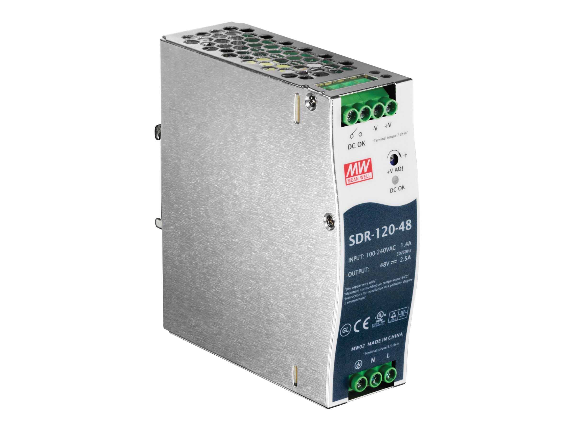 TRENDnet 120W (48V, 2.5A) Single Output Industrial DIN-Rail Power Supply