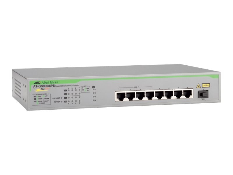 Allied Telesis 8-Port 10 100 1000BaseTX Gigabit Ethernet Unmanaged Switch with US Power Cord PoE, AT-GS900/8PS-10, 15667043, Network Switches