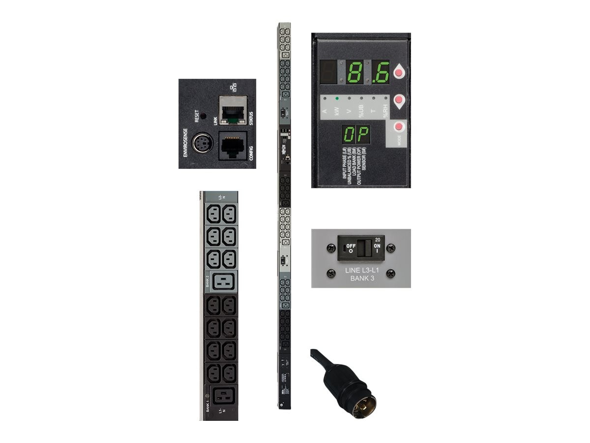 Tripp Lite Monitored PDU 8.6kW 208V 30A 3-phase 0U NEMA L21-30P Input 6ft Cord (42) C13 (6) C19 Outlets, TAA