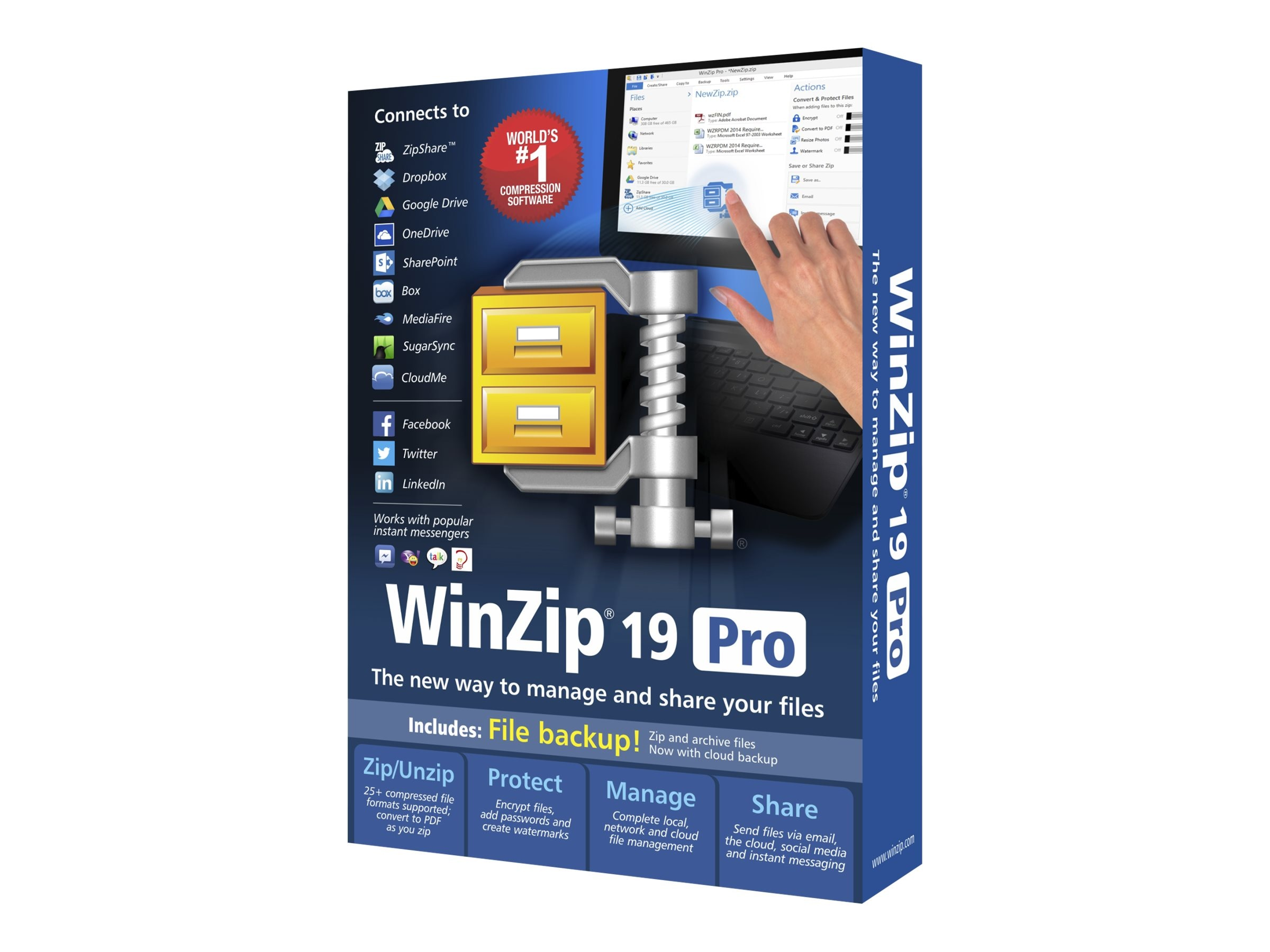 Corel WinZip 19.0 Pro ML DVD, WZ19PROMLDVD, 18402391, Software - Utilities