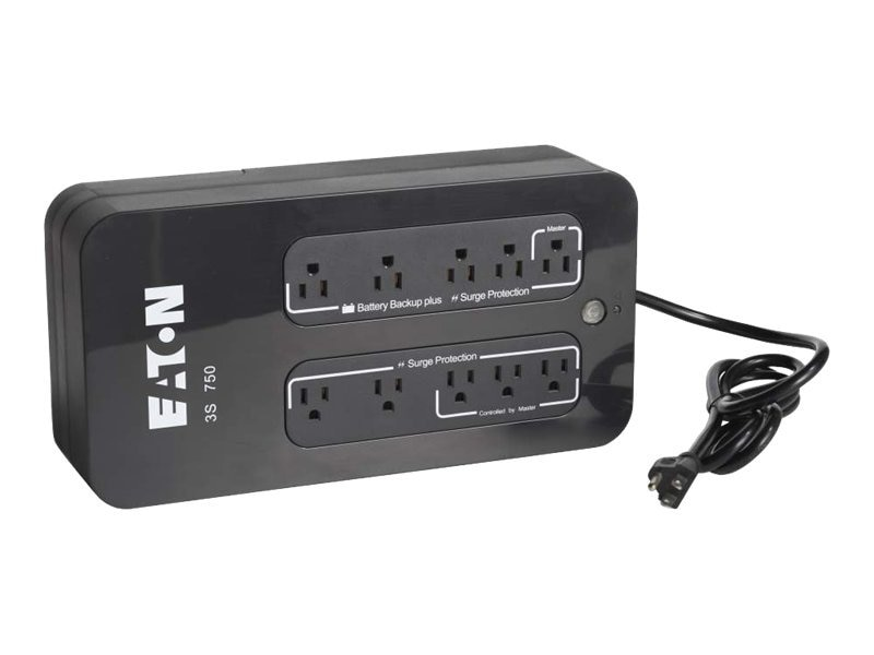 Eaton 3S 750VA 450W 120V Desktop UPS 5-15P Input (10) 5-15R Outlets, 3S750, 12998584, Battery Backup/UPS