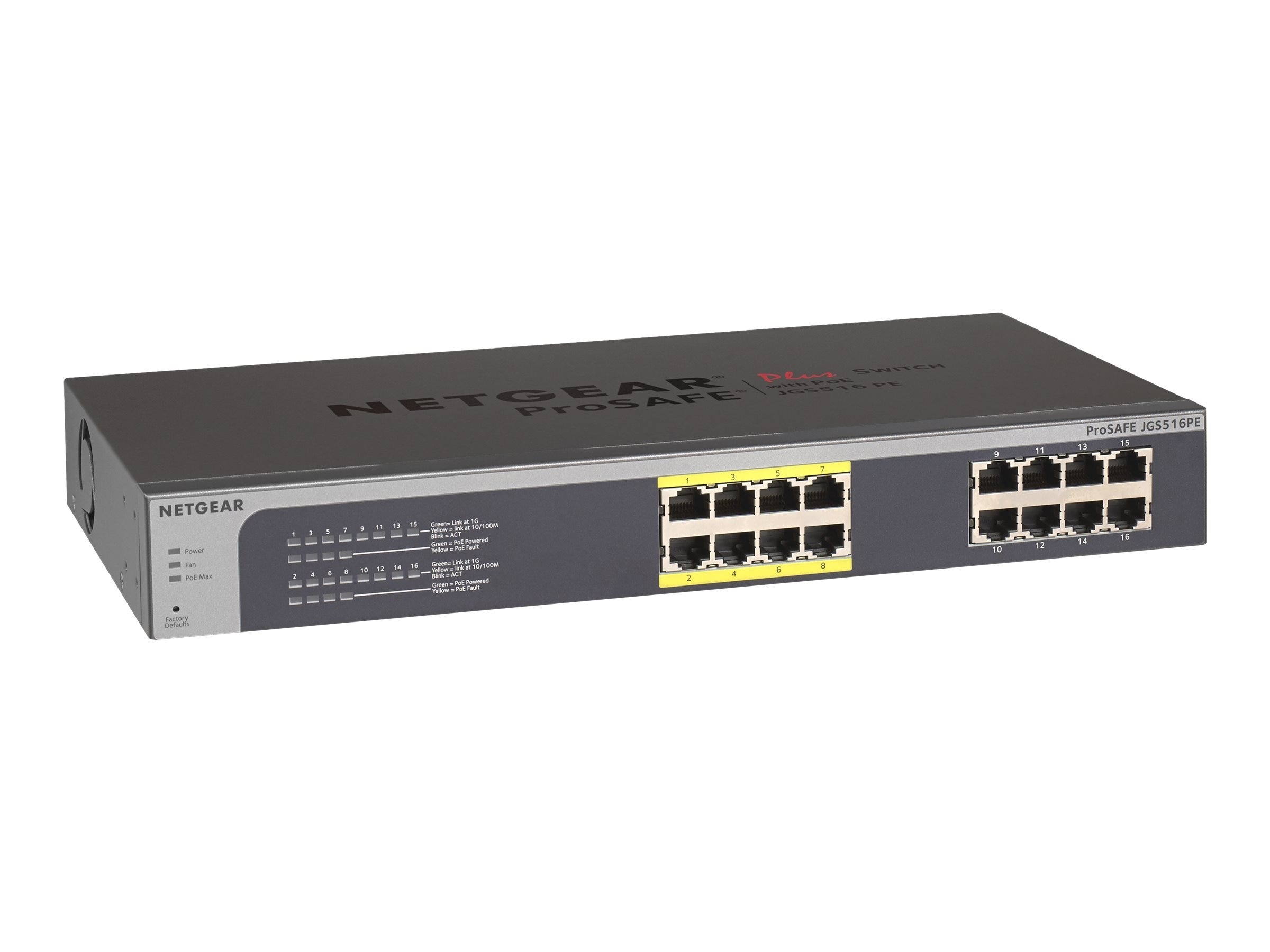 Netgear 16-Port Prosafe Plus Gigabit Switch w PoE, JGS516PE-100NAS, 16459385, Network Switches