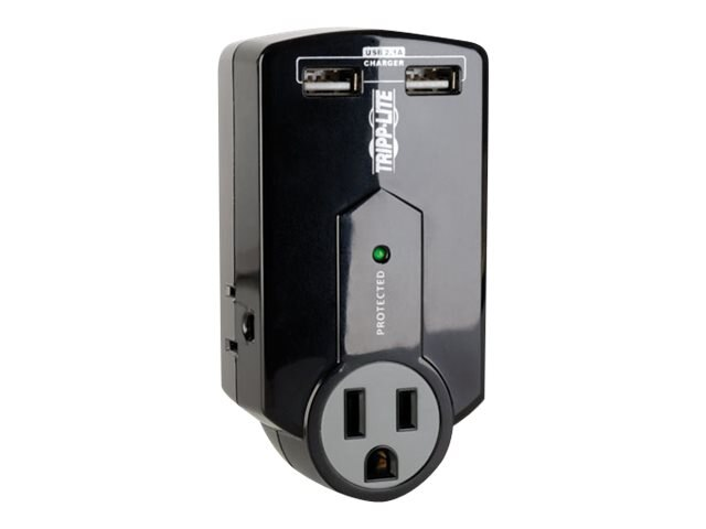 Tripp Lite Protect It! Surge Suppressor (3) Outlets Direct Plug-in 540 Joules Black TAA, SK120USBTAA, 17588816, Surge Suppressors