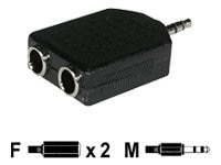 C2G 3.5mm Stereo (M) to Dual 6.3mm (1 4in) Stereo (F) Adapter, 40642, 13213769, Cables