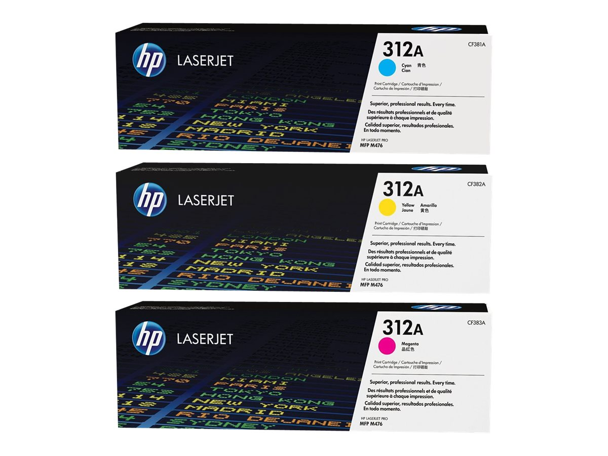HP 312A (CF440AM) Cyan, Magenta & Yellow Toner Cartridges (3-pack)