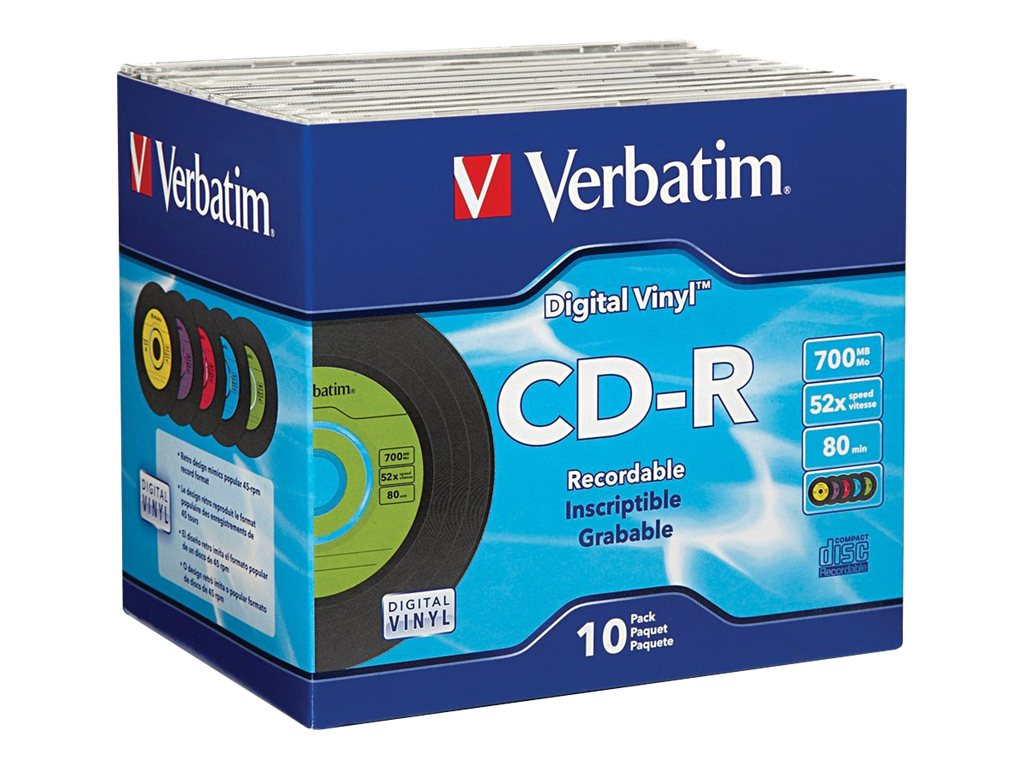 Verbatim 52x 700MB 80min. Digital Vinyl Cd-R media (10-pack Jewel Cases), 94439, 7197029, CD Media