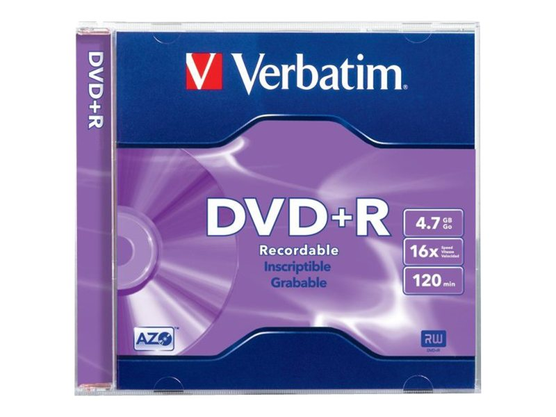 Verbatim 16x 4.7GB Branded Surface DVD+R Media (10-pack Blister), 96942, 11765480, DVD Media