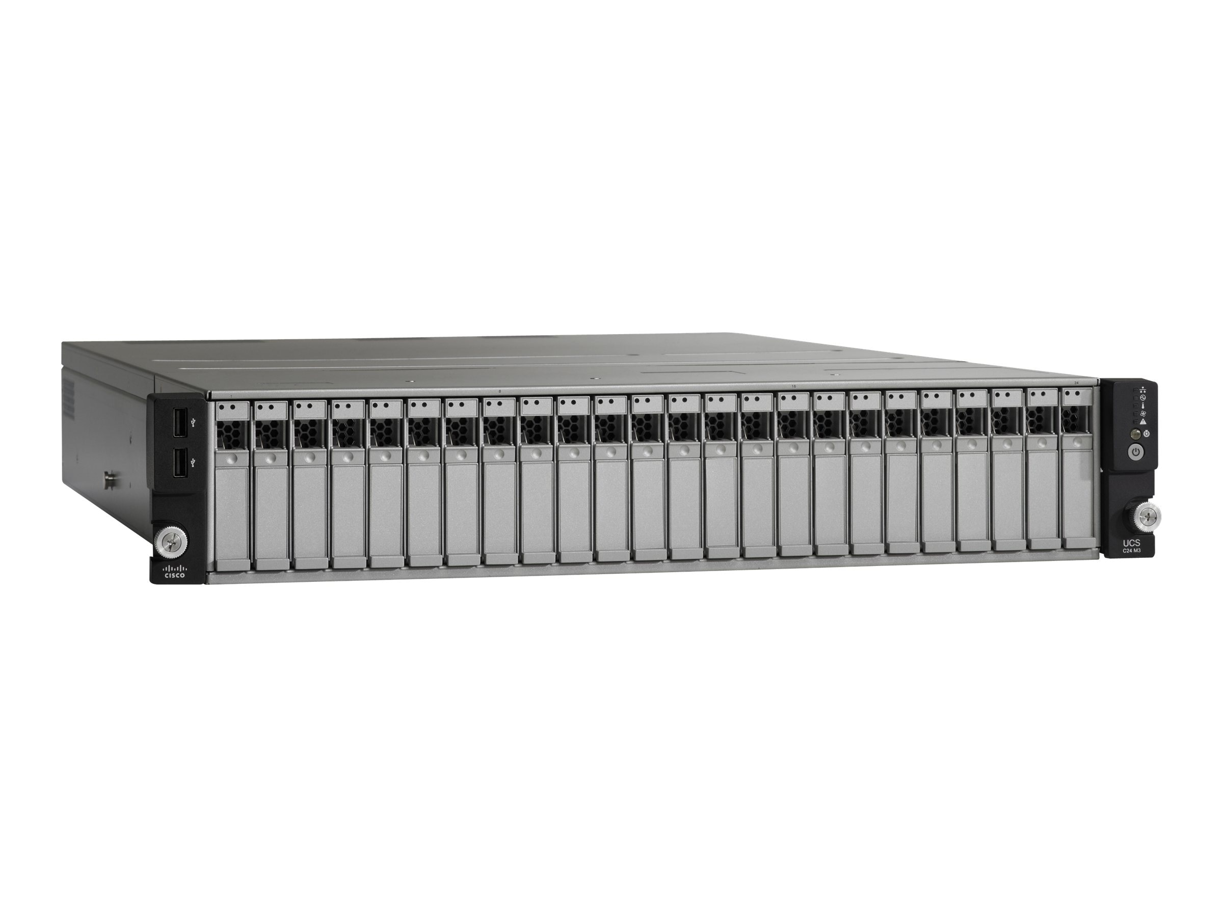 Cisco UCS C24 M3 2U RM (1x) Xeon QC E5-2403 1.8GHz 8GB DDR3 16x2.5 HS Bays 2xGbE Rails USB Flash 2x450W, UCS-SPV-C24-E